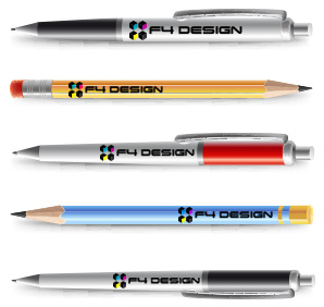 Stylos et crayons avec le logo F4 Design