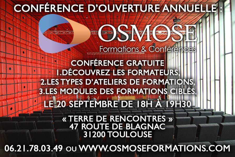 Conférence d'ouverture d'Osmose à Toulouse le 20 septembre : Rencontrez-moi